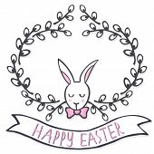 picture of centerpiece  - White elegant bunny in willow wreath spring holiday Easter centerpiece illustration with flag banner with wishes in English on white background