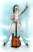 Modern rock musician posing with his electric guitar. Futuristic style.