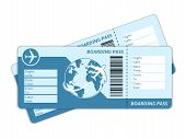 picture of boarding pass  - Blank plane tickets for business trip travel or vacation journey isolated vector illustration - JPG