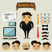 Hipster character elements for business man