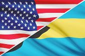 Series Of Ruffled Flags. Usa And Bahamas.