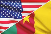 Series Of Ruffled Flags. Usa And Cameroon.