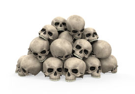 foto of morbid  - Pile of Skulls isolated on white background - JPG