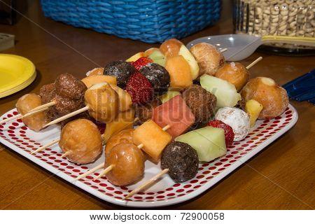 Fruit and Doughnut Shish Kabobs