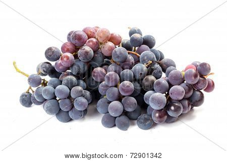 A Bunch Of Black Grapes On White