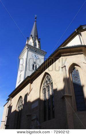 Tower Of St Jakob Church In Villach