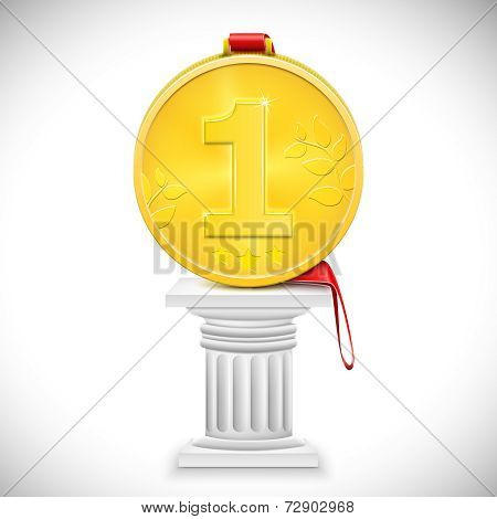Golden Medal With Ribbon On Column