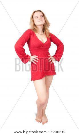 Standing Girl In Red Short Dress