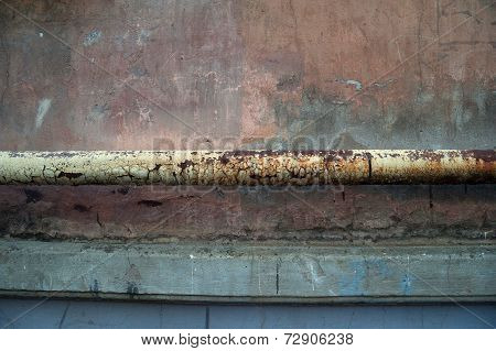 Texture Of Old Gray Cement Wall With Drain Pipe