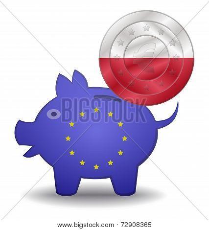 Piggy Bank And Euro European Poland