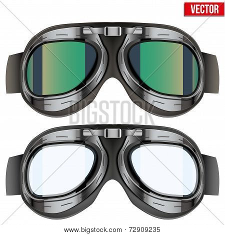 Retro aviator pilot glasses goggles. Isolated on white