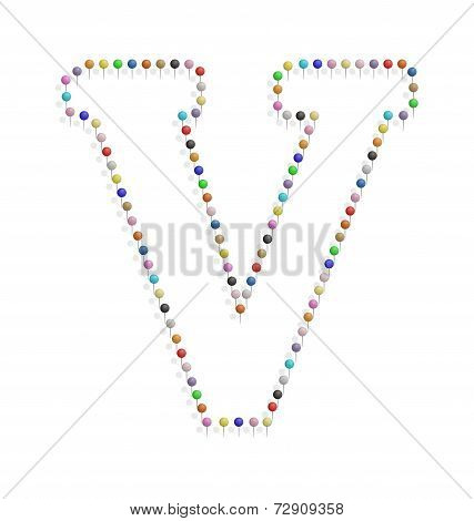 Letter V With Pushpin