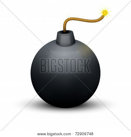 Black Bomb About To Blast with burning wick. Vector Illustration.