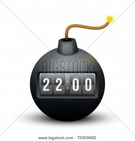 Black Bomb About To Blast with time counter. Vector Illustration.