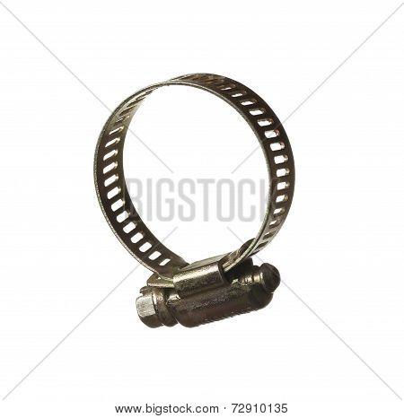 Isolated hose clamp studio shot, white background