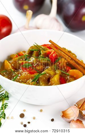 Eggplant Food With Tomato And Pepper