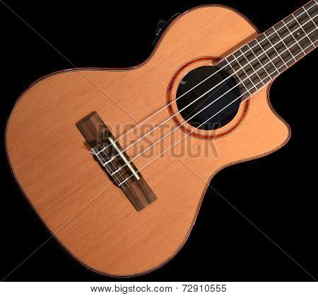 Ukulele Body On Black Background