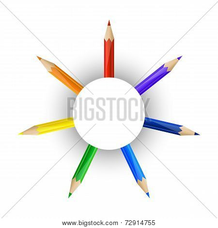 Set of pencils and round paper banner