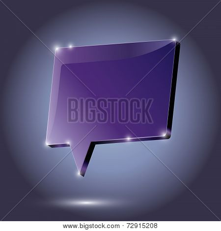 Abstract Metal Speech Bubble Purple On A Dark Background. Vector