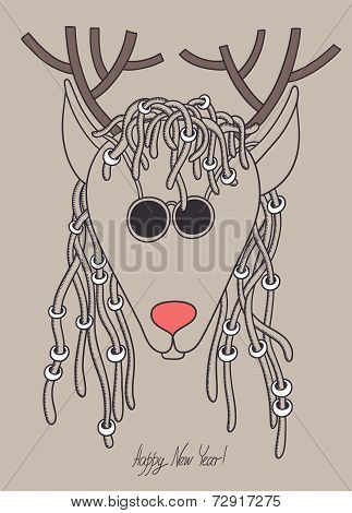 original hipster christmas deer with sunglasses and dreads hair,