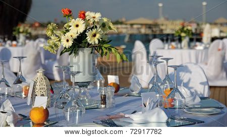 Tables Set Up For Wedding Reception