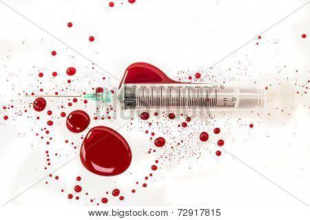 Syringe With Blood Splash