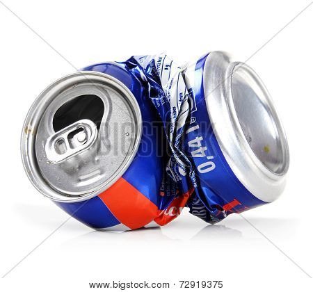 Crushed Drink Can Isolated On White