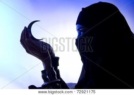 Beautiful Young Muslim Girl Holding A Moon Symbol, Spirituality, Dark Silhouette