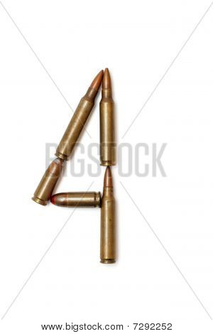Number four made of cartridges isolated