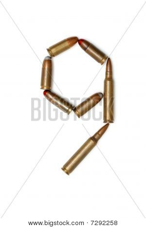 Number nine made of cartridges isolated