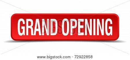 Grand Opening Red 3D Square Button On White Background