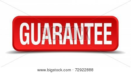 Guarantee Red 3D Square Button On White Background