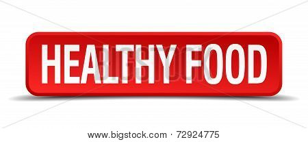 Healthy Food Red 3D Square Button On White Background