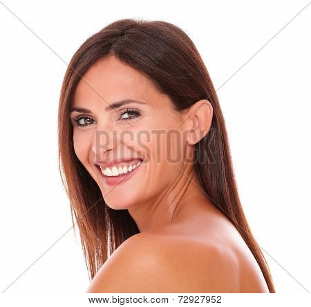 Happy Adult Woman Laughing And Looking At Camera