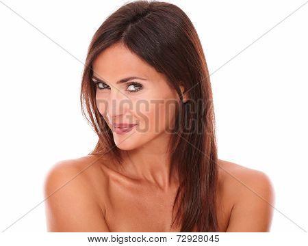 Pensive Sensual Sexy Woman Looking At Camera