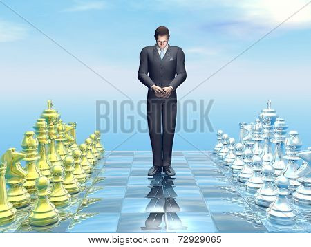 Businessman defeat - 3D render