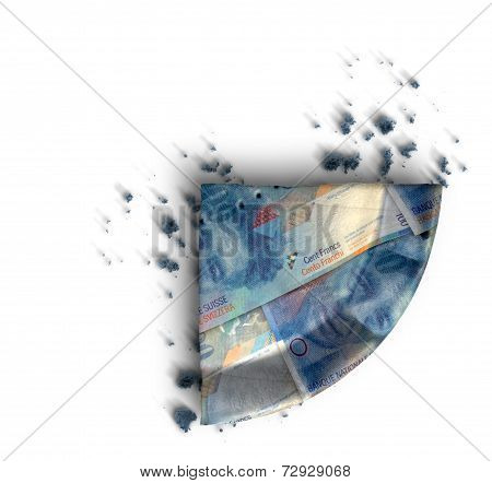 Slice Of Swiss Franc Money Pie