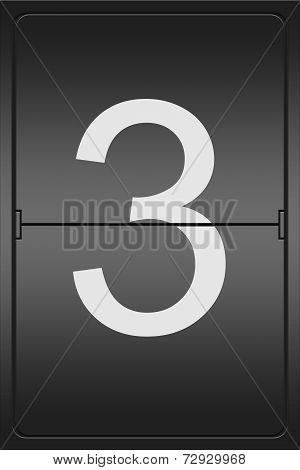 Number 3 On A Mechanical Leter Indicator