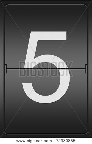 Number 5 On A Mechanical Leter Indicator
