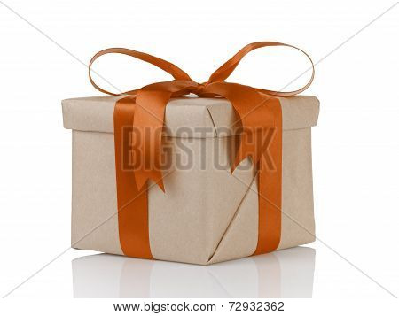 One Gift Christmas Box Wrapped With Kraft Paper And Orange Bow