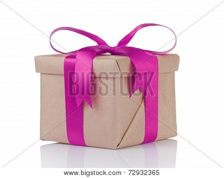 One Gift Christmas Box Wrapped With Kraft Paper And Purple Bow