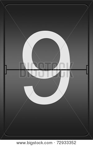 Number 9 On A Mechanical Leter Indicator