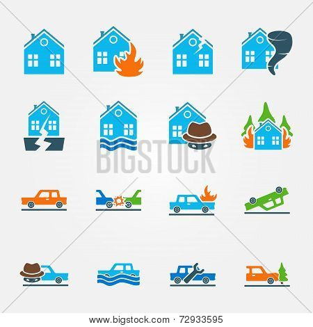 Bright flat insurance icons vector set