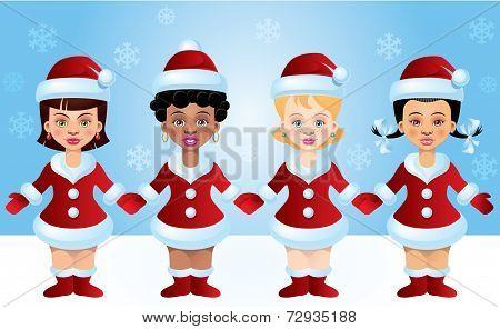 Four Santa-girls
