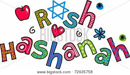 Rosh Hashanah Jewish New Year Cartoon Doodle Text