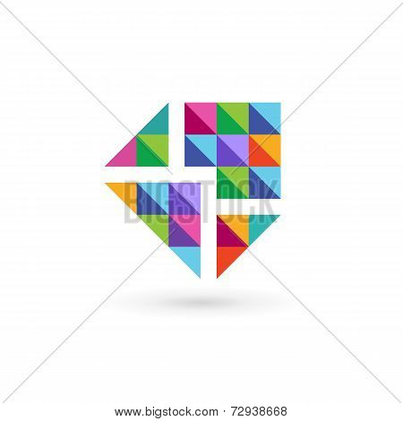 Mosaic E-mail Envelope Logo Icon Design Template Elements. Vector Color Sign.