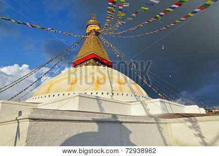 Buddhist Shrine Boudhanath Stupa With Buddha Wisdom Eyes In Kathmandu, Nepal