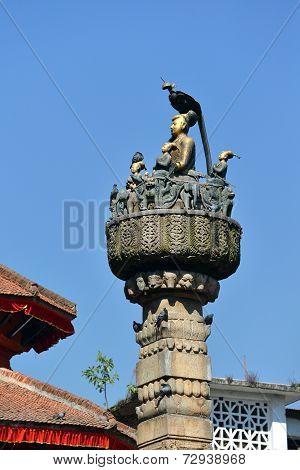 King Yoganarendra Malla Bronze Statue In Kathmandu, Nepal