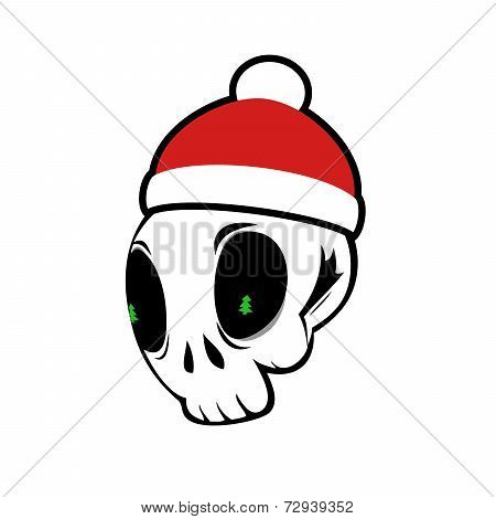 Cute Skull Vector With Santa Hat