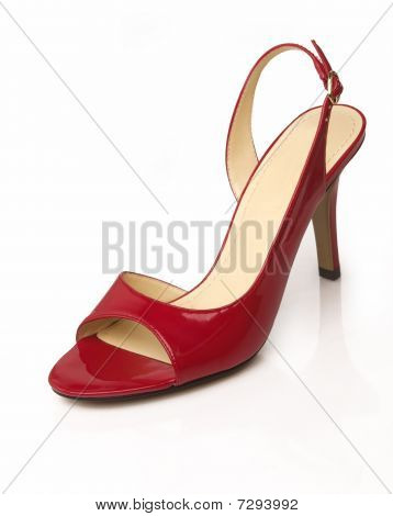Red leather stylish womans shoe
